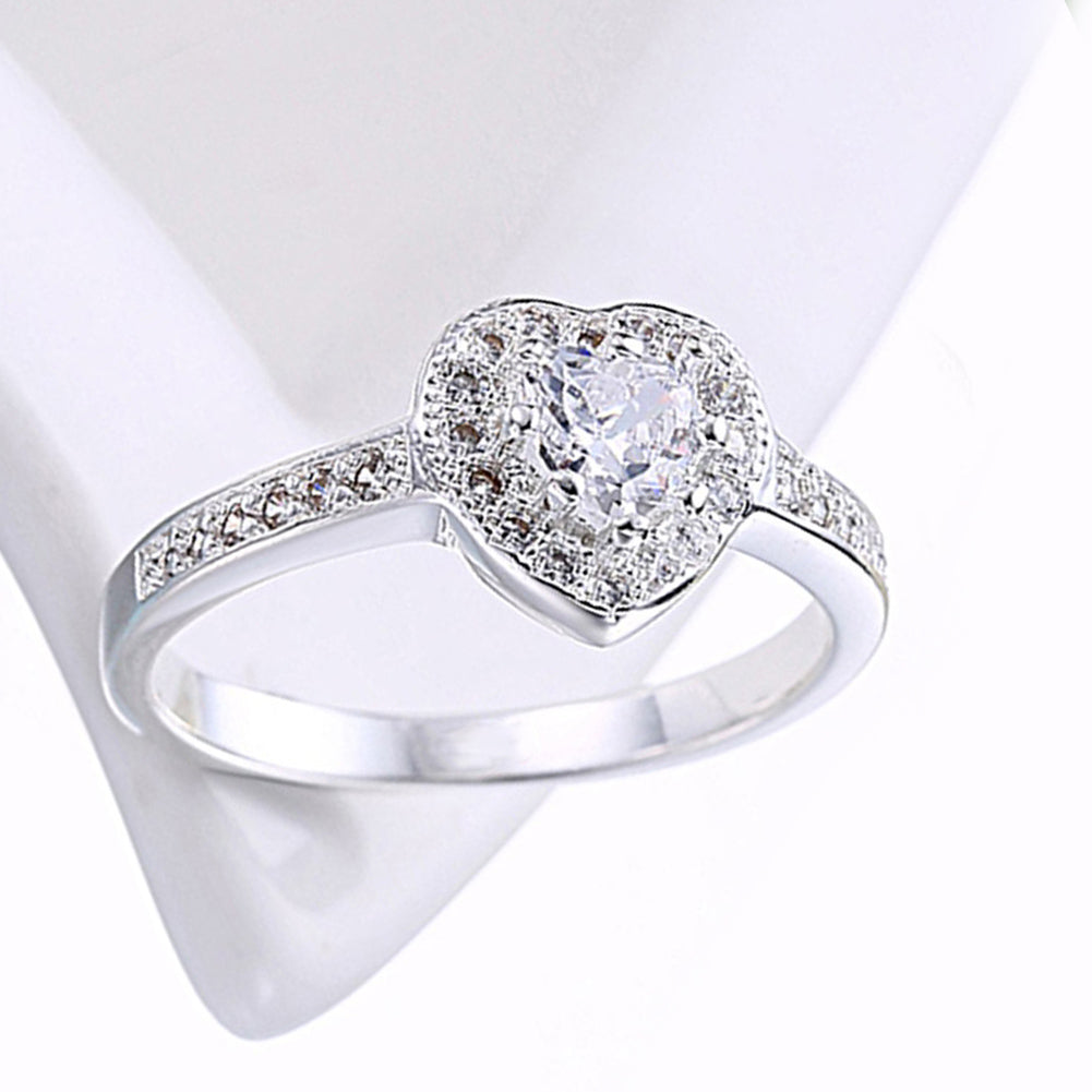 Austrian Elements Heart Shaped Pave' Ring in 18K White Gold