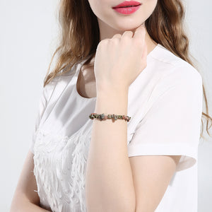 Brown Stone Adjustable Natural Stone Bracelet in 18K White Gold Plated, Bracelet, Golden NYC Jewelry, Golden NYC Jewelry  jewelryjewelry deals, swarovski crystal jewelry, groupon jewelry,, jewelry for mom,