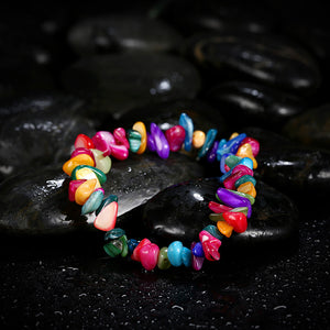 Rainbow Stone Adjustable Natural Stone Bracelet in 18K White Gold Plated