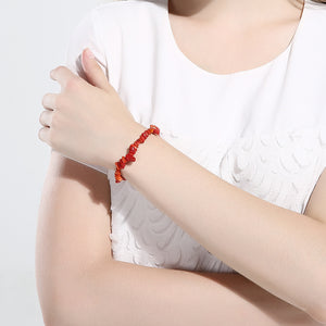 Red Brick Adjustable Natural Stone Bracelet in 18K White Gold Plated