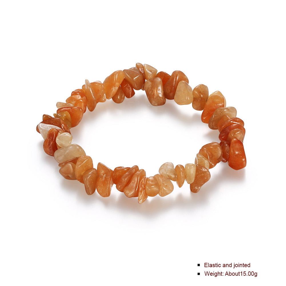 Orange Adjustable Natural Stone Bracelet in 18K White Gold Plated