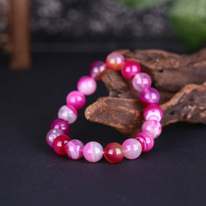 Two Tone Pink Adjustable Natural Stone Bracelet in 18K White Gold Plated