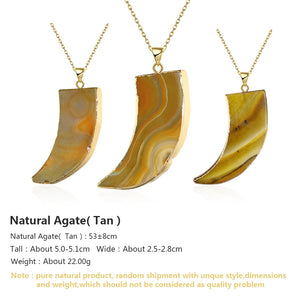 Tan Natural Stone Necklace in 18K Gold Plated