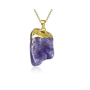 Purple Natural Stone Necklace in 18K Gold Plated