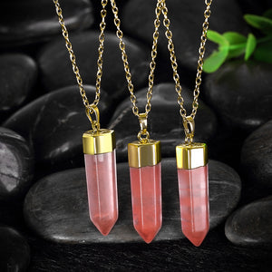 1.00 Natural Pink Natural Stone Necklace in 18K Gold Plated, Necklace, Golden NYC Jewelry, Golden NYC Jewelry  jewelryjewelry deals, swarovski crystal jewelry, groupon jewelry,, jewelry for mom,