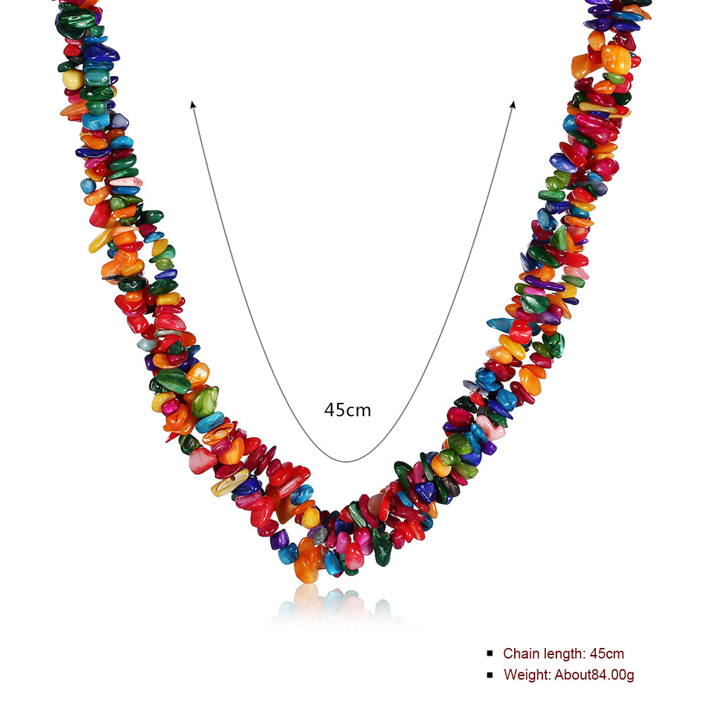 Rainbow Natural Stone Necklace in 18K White Gold Plated