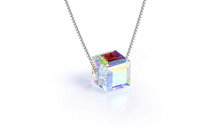 Aurora Borealis Crystal Cube Necklace Made with Swarovski Crystal, , Golden NYC Jewelry, Golden NYC Jewelry  jewelryjewelry deals, swarovski crystal jewelry, groupon jewelry,, jewelry for mom,