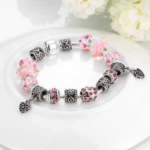 Pink Topaz Magnetic Clasp Bracelet in 18K White Gold Plated