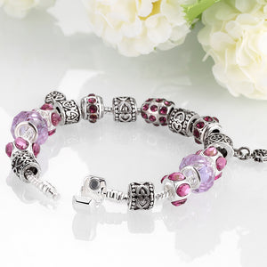 Purple Passion Magnetic Clasp Bracelet in 18K White Gold Plated