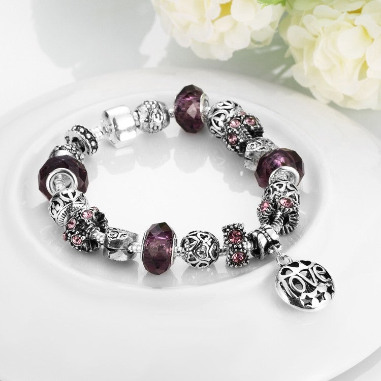 Purple Fusion Pandora Inspired Bracelet, Bracelet, GoldenNYCJewelry, Golden NYC Jewelry fashion jewelry, cheap jewelry, jewelry for mom,