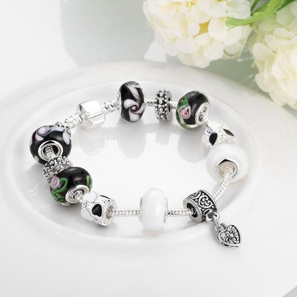 Multi Color Black & White Pandora Inspired Bracelet, Bracelet, GoldenNYCJewelry, Golden NYC Jewelry fashion jewelry, cheap jewelry, jewelry for mom,