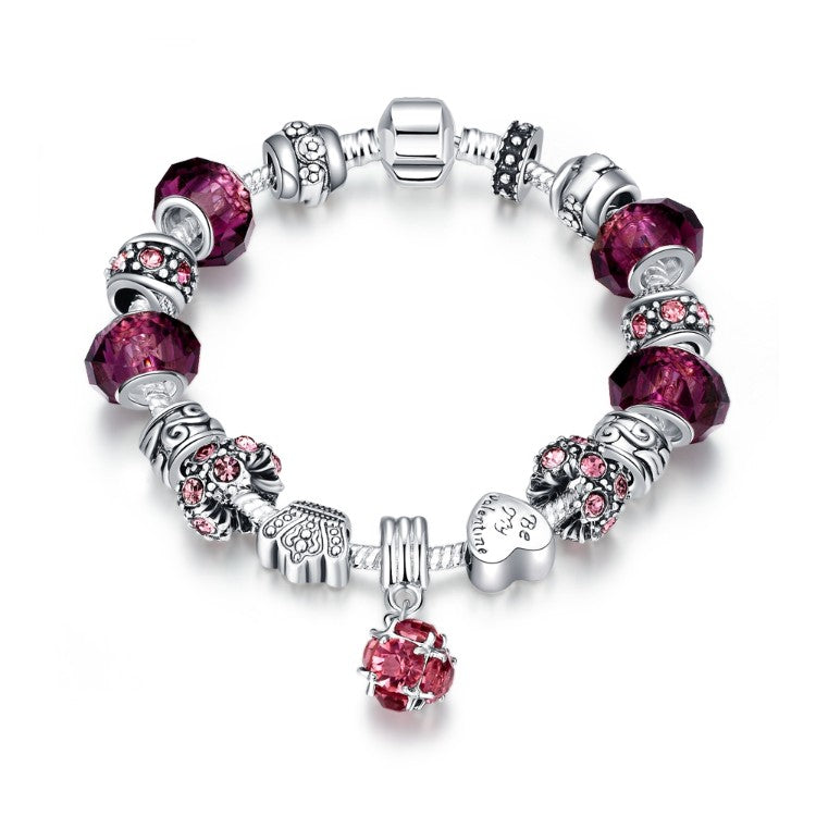 50 Shades of Ruby Red Pandora Inspired Bracelet - Golden NYC Jewelry