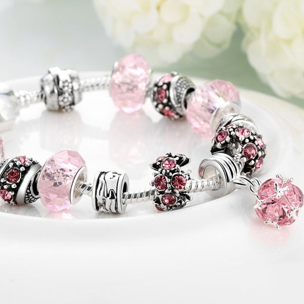50 Shades of Pink Pandora Inspired Bracelet, Bracelet, GoldenNYCJewelry, Golden NYC Jewelry fashion jewelry, cheap jewelry, jewelry for mom,