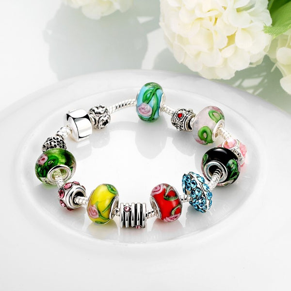 Colors Of the Rainbow Pandora Inspired Bracelet, Bracelet, GoldenNYCJewelry, Golden NYC Jewelry fashion jewelry, cheap jewelry, jewelry for mom,