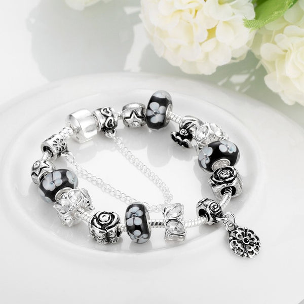 Dark Floral Night Pandora Inspired Bracelet, Bracelet, GoldenNYCJewelry, Golden NYC Jewelry fashion jewelry, cheap jewelry, jewelry for mom,