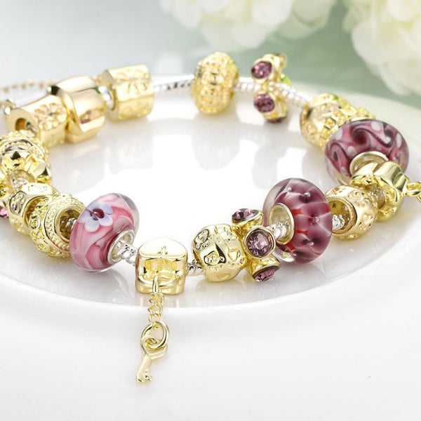 Gold & Milk Ruby Pandora Inspired Bracelet, Bracelet, GoldenNYCJewelry, Golden NYC Jewelry fashion jewelry, cheap jewelry, jewelry for mom,