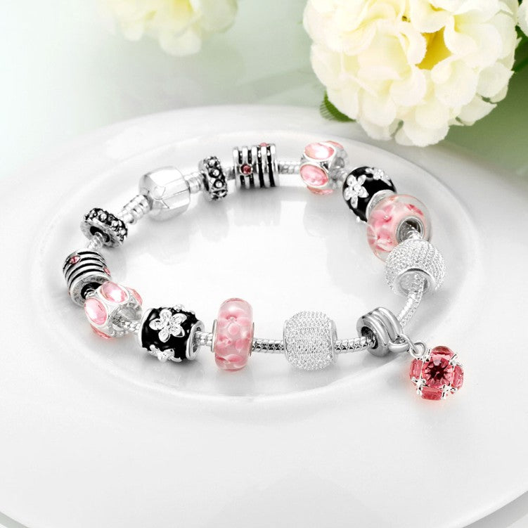 Roses in Pink Pandora Inspired Bracelet, Bracelet, GoldenNYCJewelry, Golden NYC Jewelry fashion jewelry, cheap jewelry, jewelry for mom,