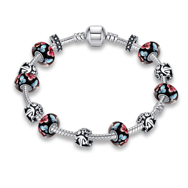Retro Flower Print Pandora Inspired Bracelet, Bracelet, GoldenNYCJewelry, Golden NYC Jewelry fashion jewelry, cheap jewelry, jewelry for mom,