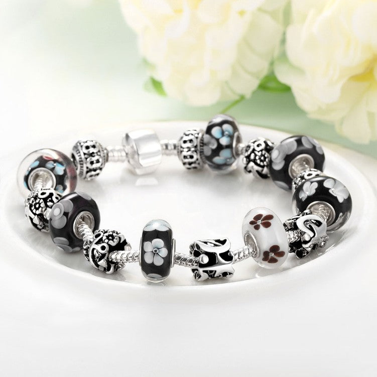 Flower Bundles Pandora Inspired Bracelet, Bracelet, GoldenNYCJewelry, Golden NYC Jewelry fashion jewelry, cheap jewelry, jewelry for mom,