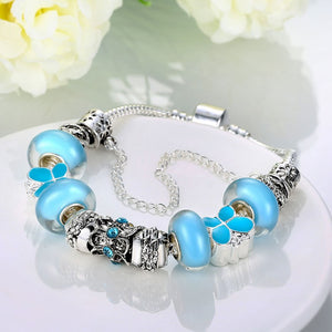 Sky Blue Petite Butterfly Pandora Inspired Bracelet - Golden NYC Jewelry