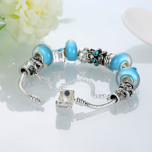 Sky Blue Petite Butterfly Pandora Inspired Bracelet - Golden NYC Jewelry Pandora Jewelry goldennycjewelry.com wholesale jewelry