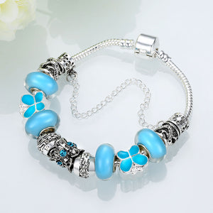 Light Blue Magnetic Clasp Bracelet in 18K White Gold Plated