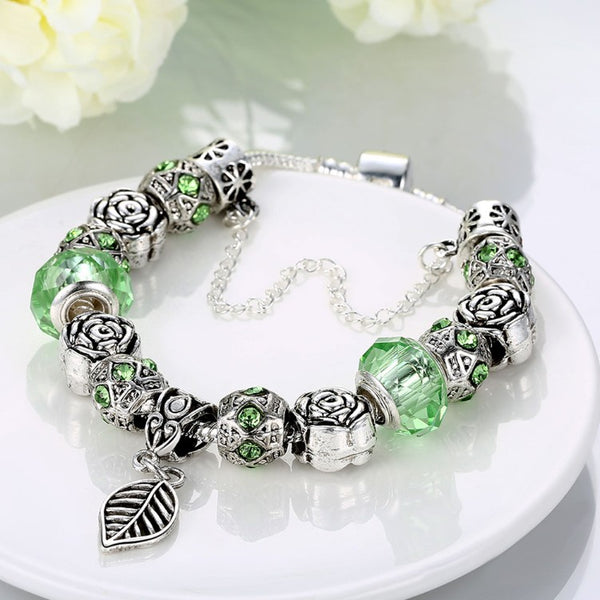 Light Green Leaf Branch Pandora Inspired Bracelet, Bracelet, GoldenNYCJewelry, Golden NYC Jewelry fashion jewelry, cheap jewelry, jewelry for mom,