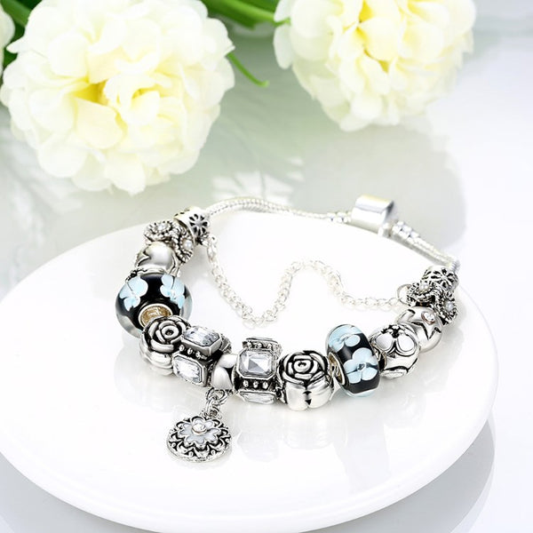 Royal Floral Petite Emblem Pandora Inspired Bracelet - Golden NYC Jewelry Pandora Jewelry goldennycjewelry.com wholesale jewelry