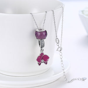 Sterling Silver 2 Piece Necklace- Purple Floral Passion - Golden NYC Jewelry Pandora Jewelry goldennycjewelry.com wholesale jewelry
