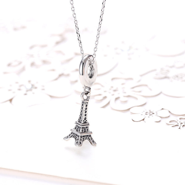 Sterling Silver Eifel Tower Charm Necklace - Golden NYC Jewelry Pandora Jewelry goldennycjewelry.com wholesale jewelry