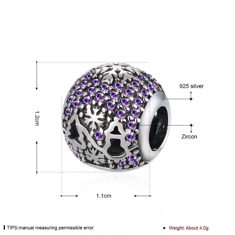 Sterling Silver CZ  Purple Christmas Charm - Golden NYC Jewelry Pandora Jewelry goldennycjewelry.com wholesale jewelry
