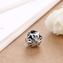 Sterling Silver Laser Cut Floral Design Charm - Golden NYC Jewelry Pandora Jewelry goldennycjewelry.com wholesale jewelry