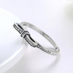 "Sterling Silver ""Pave Bow"" Ring - Golden NYC Jewelry Pandora Jewelry goldennycjewelry.com wholesale jewelry"