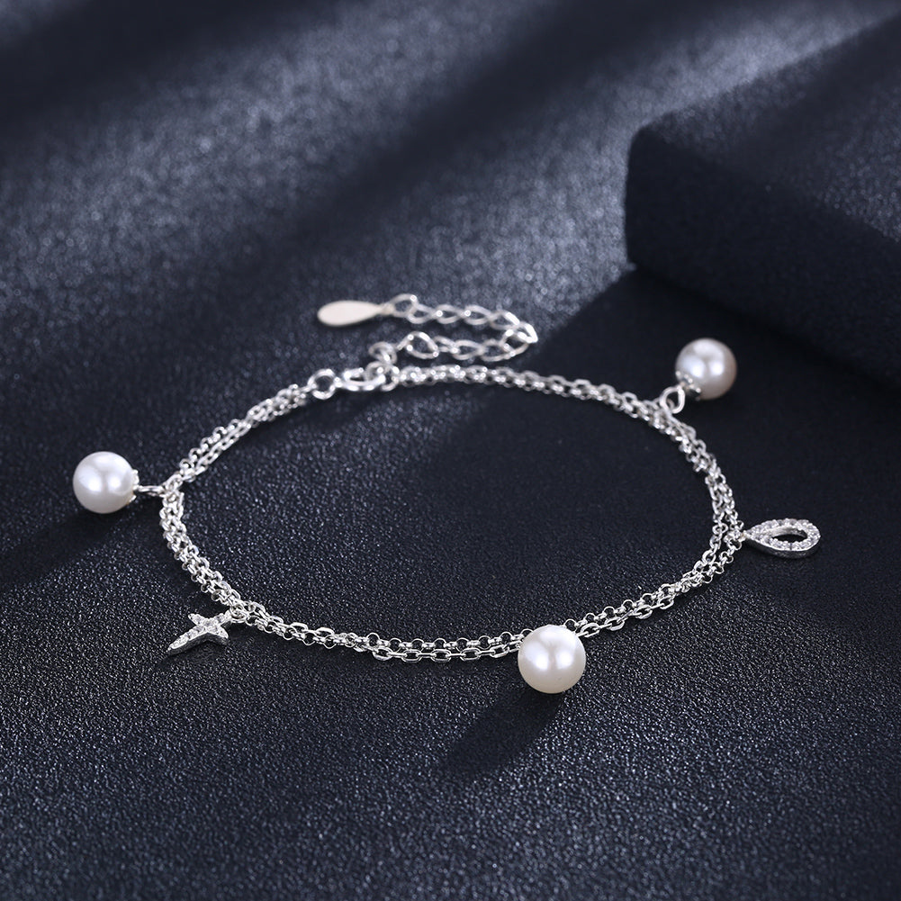 Sterling Silver Pearls and Cross Bracelet