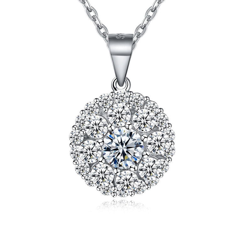 Sterling Silver Swarovski Disk Pav'e Necklace