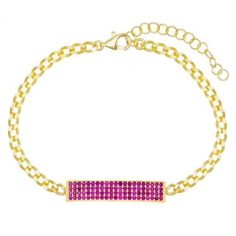 "Pave Pink Topaz Chain Bracelet 7.8"" +2"" Embellished with Austrian Crystals in 18K Gold Plated"