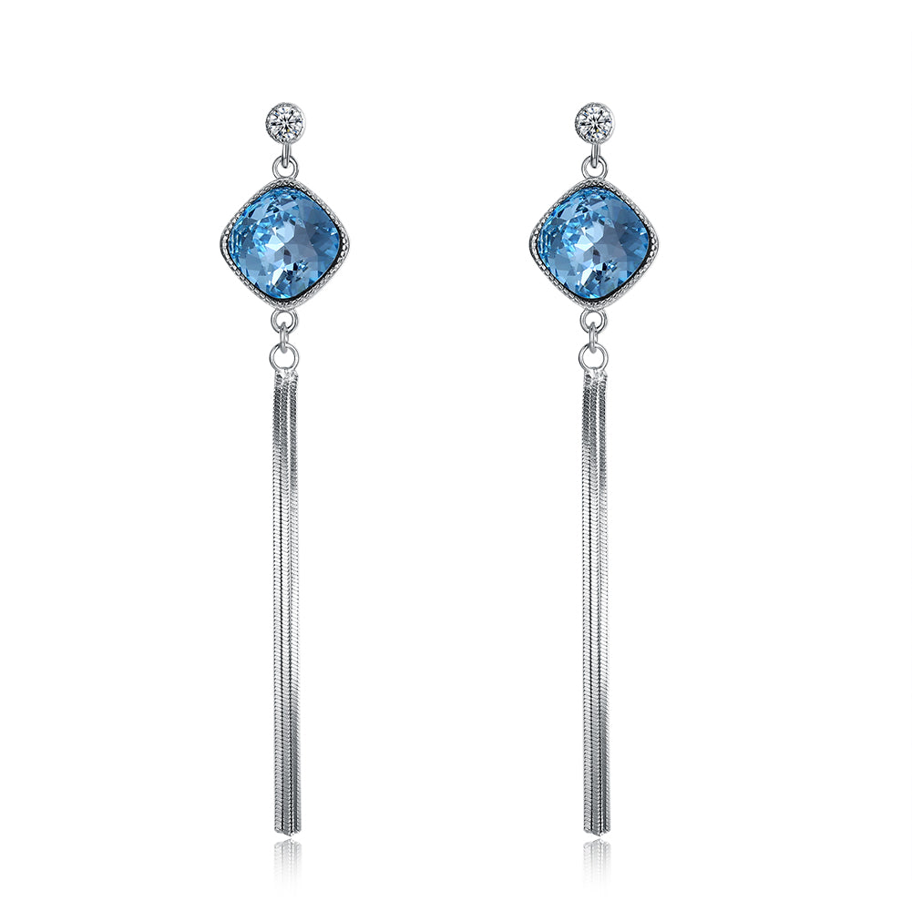 Sterling Silver Blue Rhombus Swarovski Drop Earrings