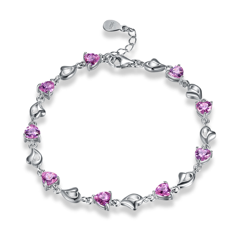 15.00 CT Pink Topaz Heart Sterling Silver Bracelet, Bracelet, Golden NYC Jewelry, Golden NYC Jewelry  jewelryjewelry deals, swarovski crystal jewelry, groupon jewelry,, jewelry for mom,