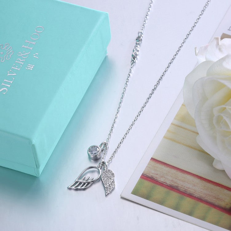 Austrian Crystal 18K White Gold over Sterling Silver Wings of an Angel Necklace - Golden NYC Jewelry