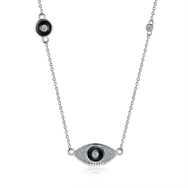 Swarovski Crystal 24K White Gold over Sterling Silver Protection from Evil Eye Necklace - Golden NYC Jewelry www.goldennycjewelry.com fashion jewelry for women