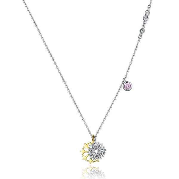 Swarovski Crystal 18K White Gold over Sterling Silver Two Tone Snowflake Necklace - Golden NYC Jewelry www.goldennycjewelry.com fashion jewelry for women