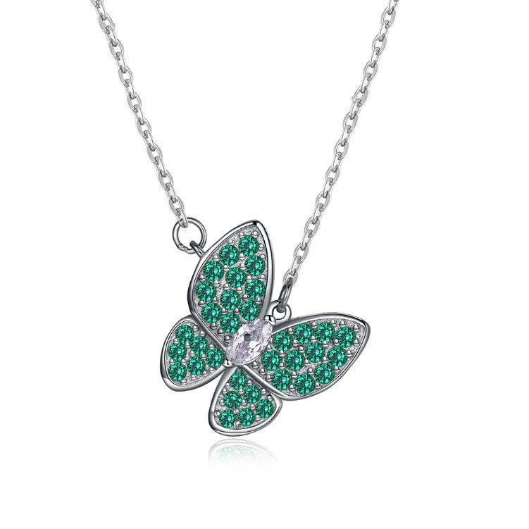 Swarovski Crystal 18K White Gold over Sterling Silver Emerald Butterfly Necklace - Golden NYC Jewelry www.goldennycjewelry.com fashion jewelry for women