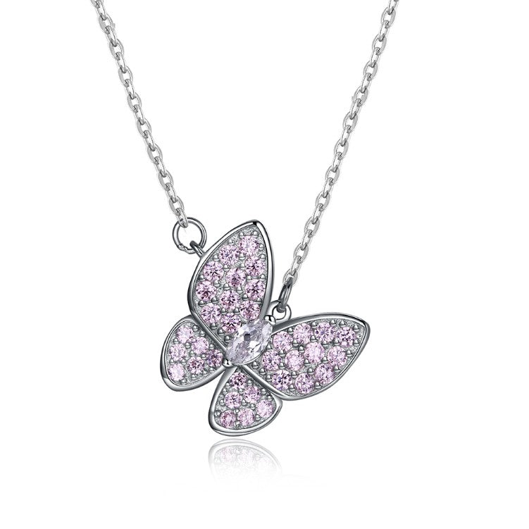 Swarovski Crystal 18K White Gold over Sterling Silver Pink Topaz Butterfly Necklace - Golden NYC Jewelry www.goldennycjewelry.com fashion jewelry for women