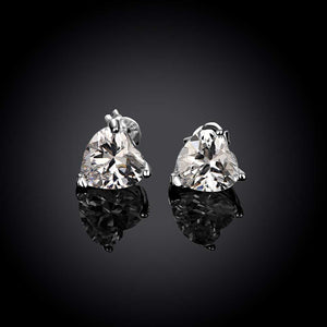 Heart Stud Earrings Made with Swarovski Elements in Sterling Silver Plated