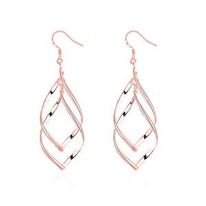 Silver Spiral Hook Earrings Set in 18K White Gold Plated ( 3 Color Available)