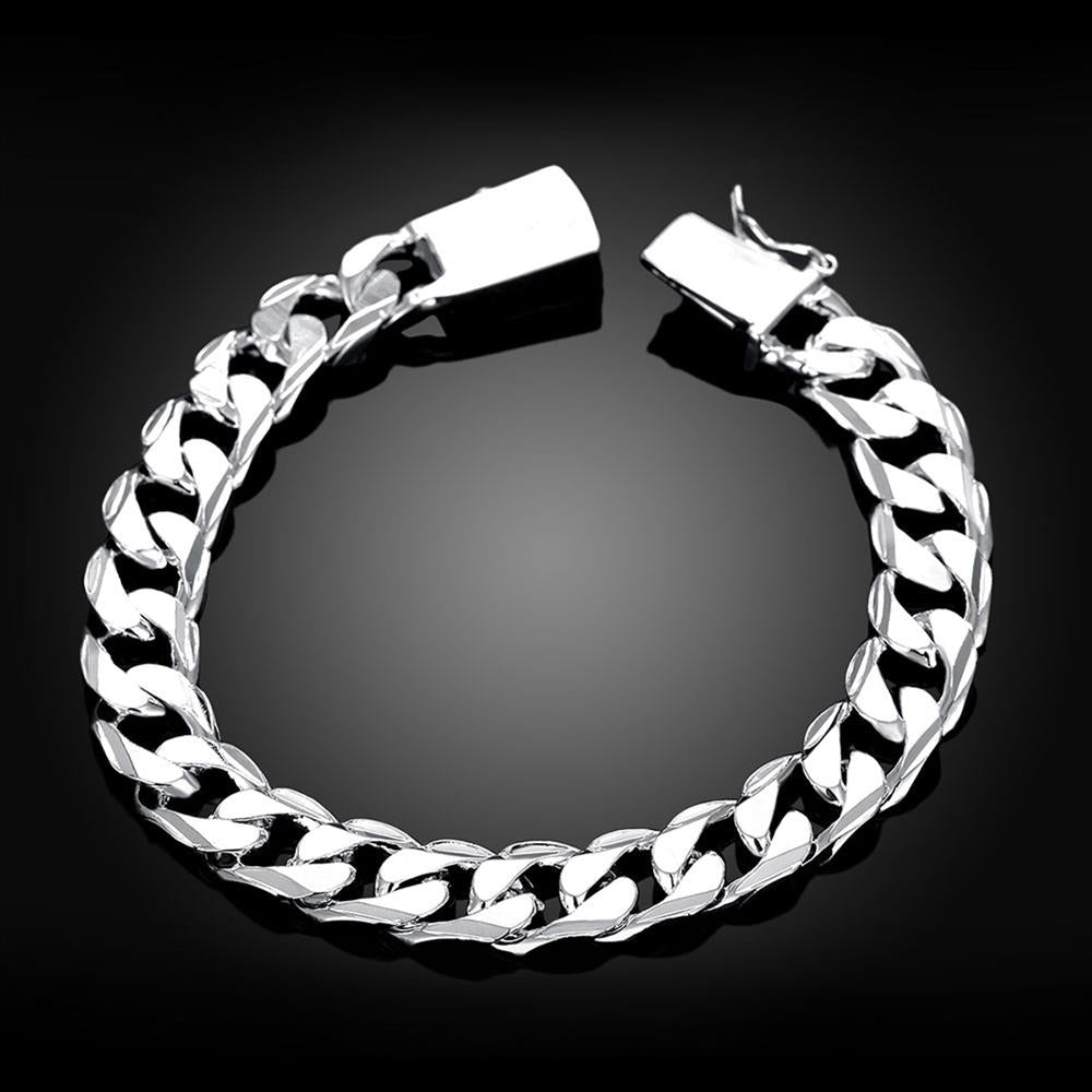 Silver Plated Unisex Curb Chain Italian Bracelet