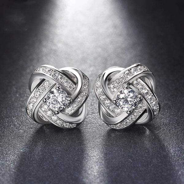 18K White Gold Plated Infinity Twist Stud Earring with  Austrian Crystals