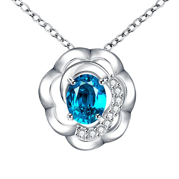 Blue Topaz Clover Shaped White Gold Necklace, , Golden NYC Jewelry, Golden NYC Jewelry fashion jewelry, cheap jewelry, jewelry for mom,