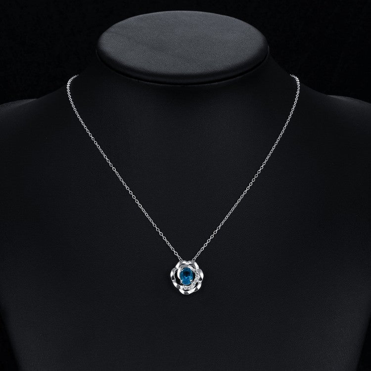 Blue Topaz Clover Shaped White Gold Necklace, , Golden NYC Jewelry, Golden NYC Jewelry  jewelryjewelry deals, swarovski crystal jewelry, groupon jewelry,, jewelry for mom,