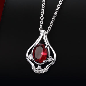 Ruby Curved Pendant Pav'e Necklace in 18K White Gold Gemstone